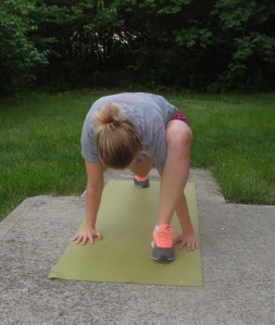 Front view of deep lunge stretch